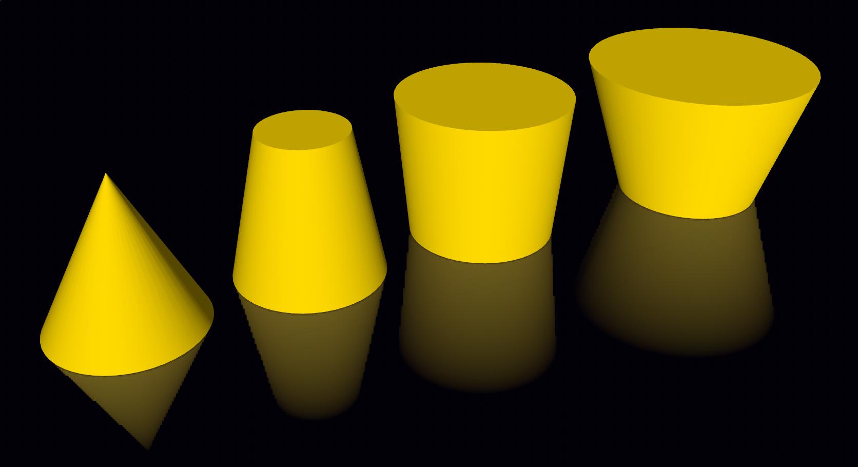 Figure 10. Cones with different top radius value.