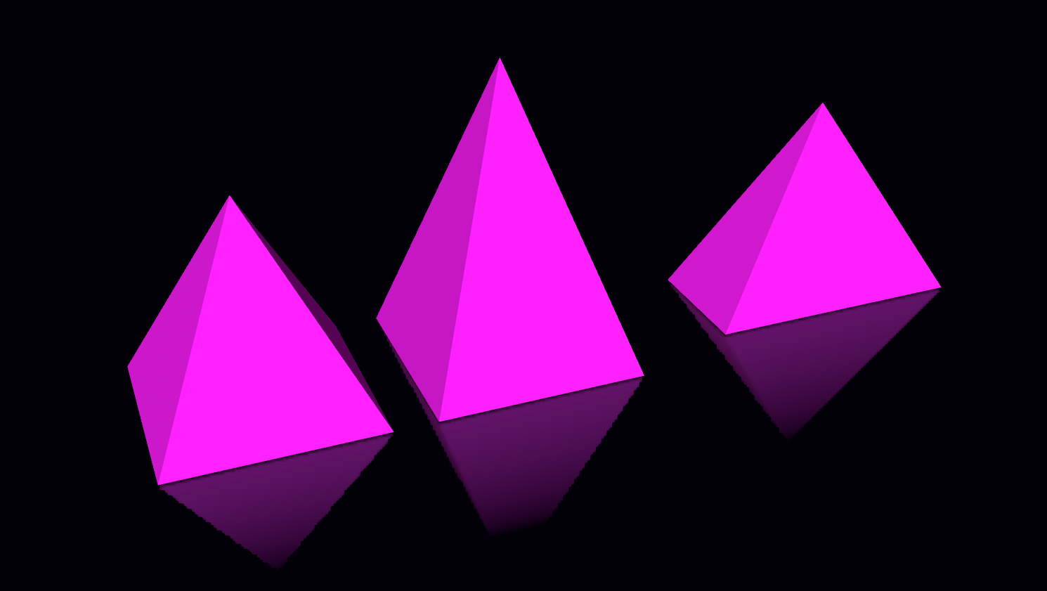 Figure 13. Pyramids with different width, height and length.
