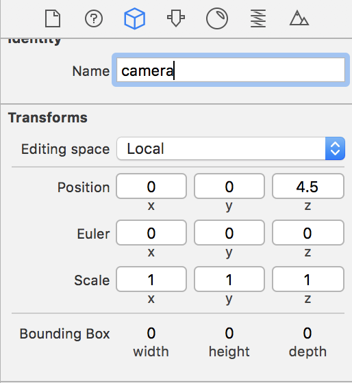 Figure 5. New values of the camera settings.