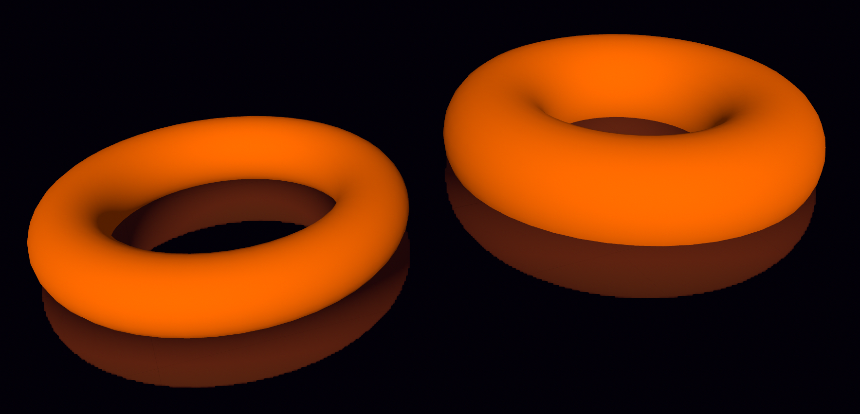 Figure 14. Torus geometries with different ring and pipe radius.